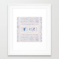 dreamer Framed Art Prints featuring DREAMER by Bianca Green