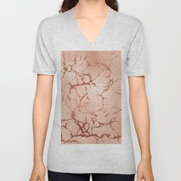 Modern abstract rose gold glitter stylish marble Unisex V-Neck