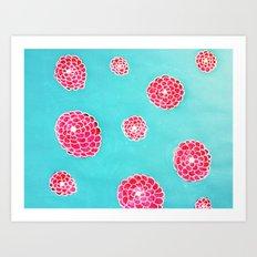Pink flowers in blue Art Print