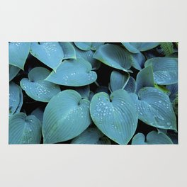 GREEN LEAVES WITH RAIN-DROPS Rug