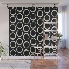 Polka Dots Circles Tribal Cream on Black Wall Mural