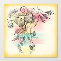 decorative Canvas Prints featuring Decorative Floral by famenxt