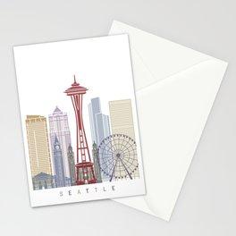 Seattle V2 skyline poster Stationery Cards