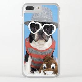 Little Shit Boston Terrier Clear iPhone Case