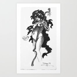 Pregnant Nude with Staff Art Print