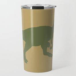 Camouflage Dinosaur Silhouette on a khaki tan background Travel Mug