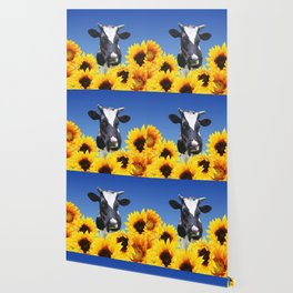Cow black and white with sunflowers Wallpaper