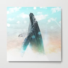 Whale in the Clouds Metal Print