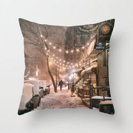 Snow - New York City - East Village Throw Pillow