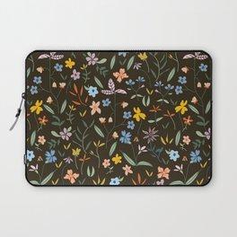 Vintage Inspired Wildflower Print Dark Laptop Sleeve