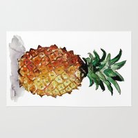 pineapple Area & Throw Rugs featuring Pineapple by Bridget Davidson