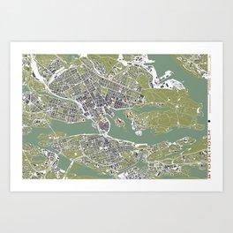 Stockholm city map engraving Art Print