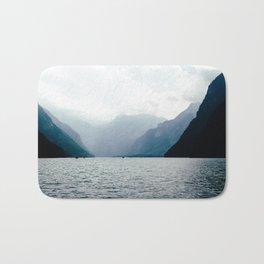 Misty Lake in the Alps Bath Mat