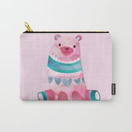 Pink & Blue Pastel Love Bear Carry-All Pouch