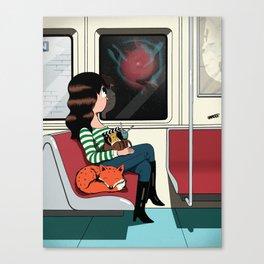 Subway Girl and Fox Canvas Print