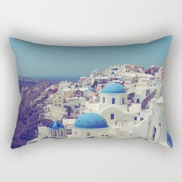 Blue Domes II, Oia, Santorini, Greece Rectangular Pillow