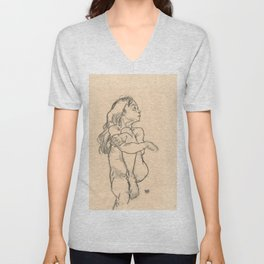 "Egon Schiele ""Seated Nude Girl Clasping Her Left Knee"" Unisex V-Neck"
