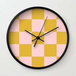Classic Checkerboard Yellow Peach Lavellan Wall Clock