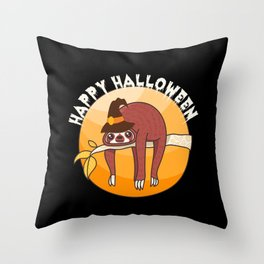 Happy Halloween Sloth Witch Hat Moon Night Gift Throw Pillow