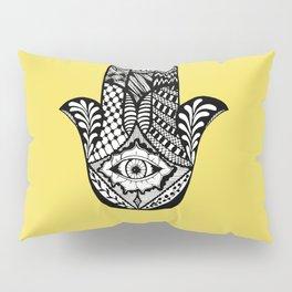 Hand Drawn Hamsa Hand of Fatima on Yellow Pillow Sham