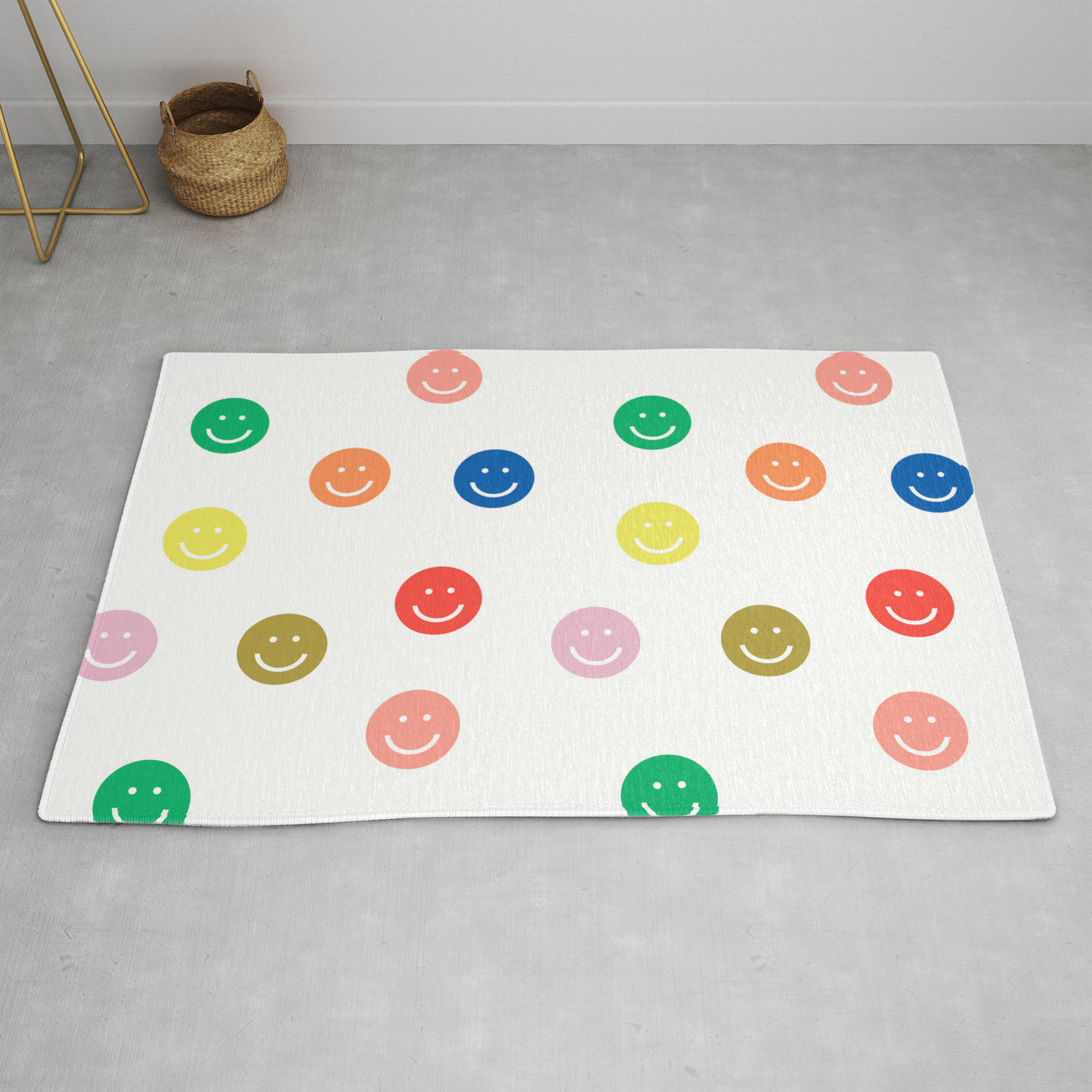 Smiley Faces Happy Simple Rainbow Colors Pattern Smile Face Kids Nursery Boys Girls Decor Rug By Charlottewinter