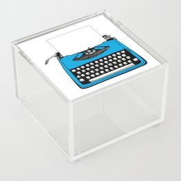 Vintage Blue Typewriter (Write Your Own Message) Acrylic Box