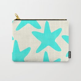 Aqua Starfish Pattern on Pale Yellow Carry-All Pouch