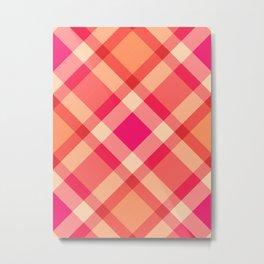 Large Modern Plaid, Orange, Coral and Fuchsia Pink Metal Print