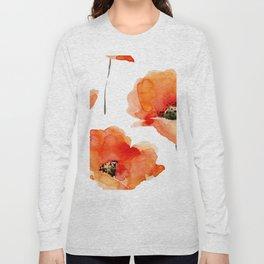 Modern hand painted orange watercolor poppies pattern Long Sleeve T-shirt