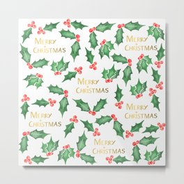 Snowy Christmas Holly Metal Print