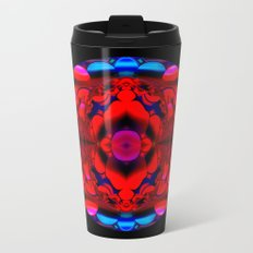 Red Kaleidoscope Circle on Black Metal Travel Mug