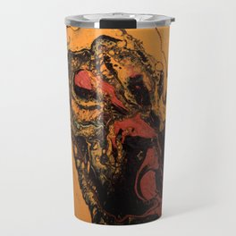 Dirty Acrylic Pour Painting 06, Fluid Art Reproduction Abstract Artwork Travel Mug