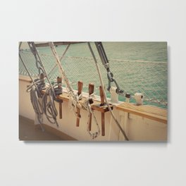 Sailboat Ropes and Lines Color Photo Metal Print