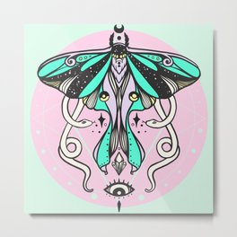 Luna Moth, Snakes, Third Eye, Witchy Illustration Metal Print