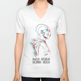 Bald Girls Bleed Gold (1) Unisex V-Neck