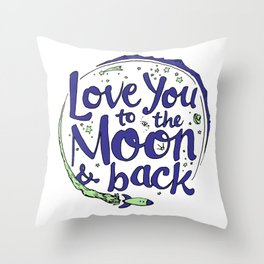 Love You to the Moon & Back...Blueberry Mint Throw Pillow