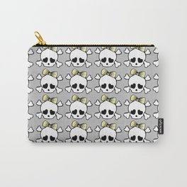 Girly Bow Hair Skull Carry-All Pouch