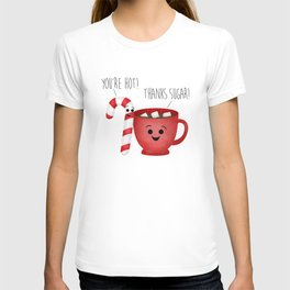 You're Hot! Thanks Sugar! Candy Cane & Hot Chocolate Couple T-shirt