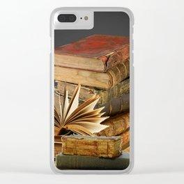 DECORATIVE  ANTIQUE LEDGERS, LIBRARY BOOKS art Clear iPhone Case
