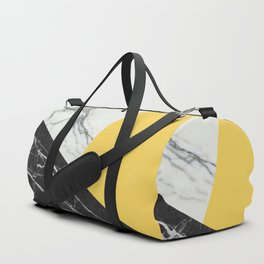 Black and White Marble with Pantone Primrose Yellow Duffle Bag