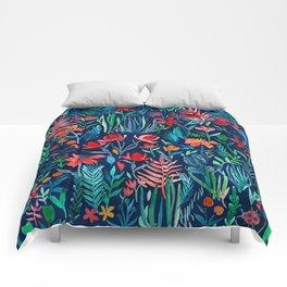 Tropical Ink - a watercolor garden Comforters
