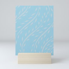 Long Lovely Leaves in Baby Blue & White Mini Art Print