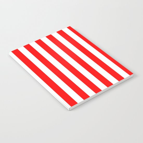 Vertical Stripes (Red/White) Notebook