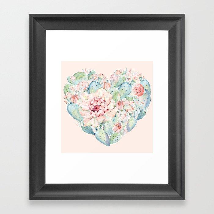 Cactus Rose Heart on Pink Framed Art Print