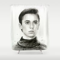 wesley bird Shower Curtains featuring Wesley by Olechka