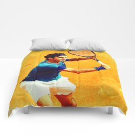 Roger Federer Tennis On Clay Comforters