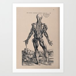 Muscleman, in a landscape, seen from behind. Photolithograph, 1940, after a woodcut, 1543. Art Print