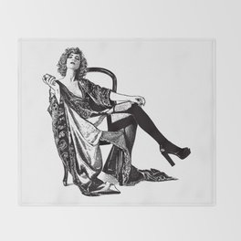 Retro Woman Wearing Vintage Lingerie and Drinking from Flask Throw Blanket