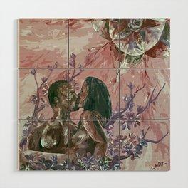 Cherry Blossom Moon Remix Wood Wall Art