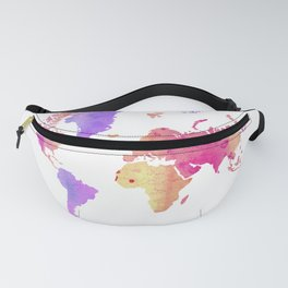 WATERCOLOR WORLD MAP Fanny Pack